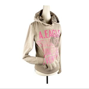 AEO Tan Pink Distress Graphic Pullover Hoodie